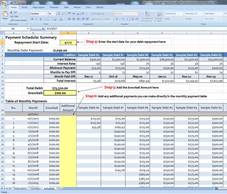 debt snowball spreadsheet screenshot