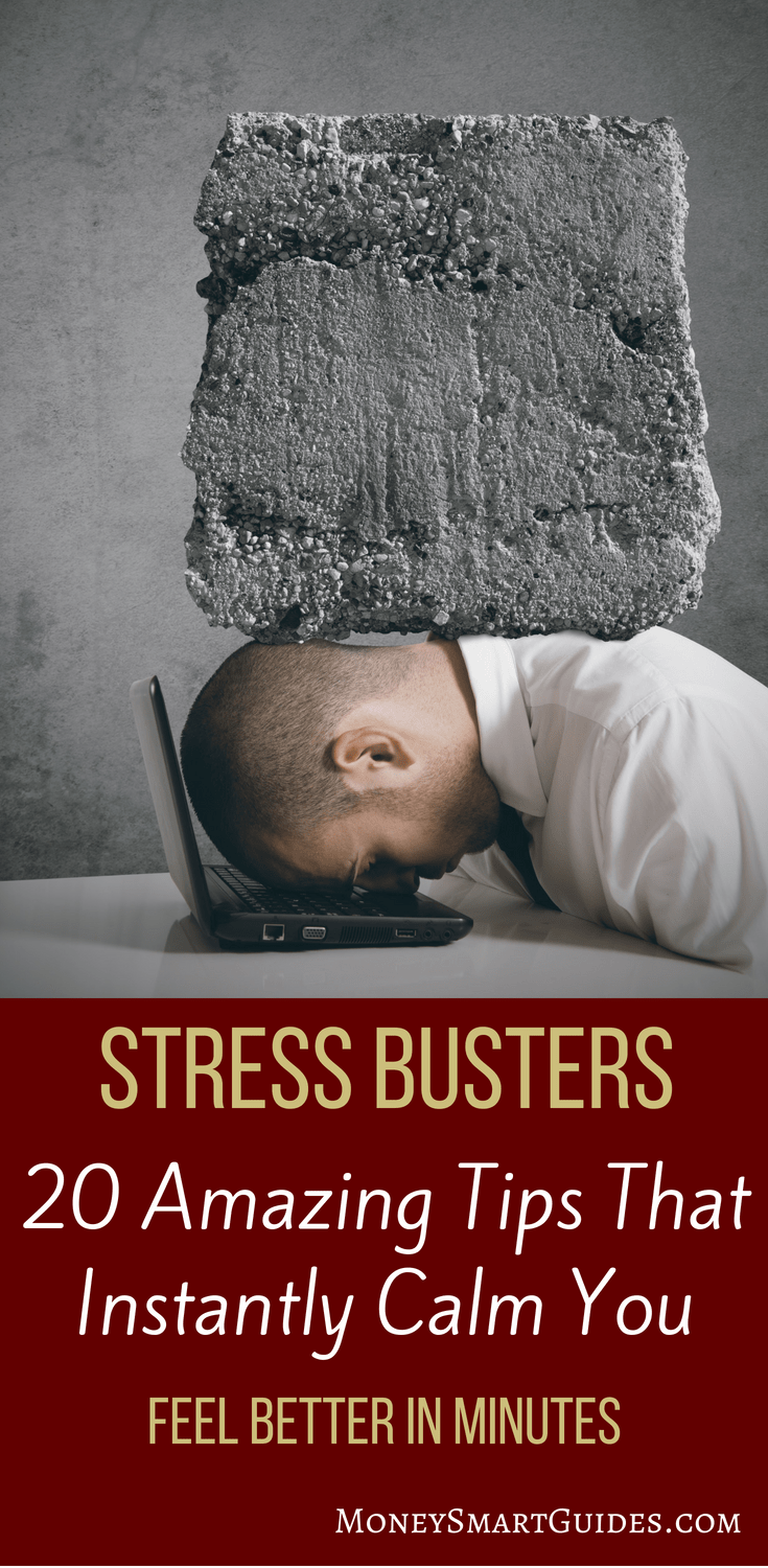 20 Amazing Stress Busters To Calm You Down Instantly   If you are coping with stress, you need to find stress management strategies to help you feel better. These 20 stress busters are fast and effective healthy ways to feel better fast.